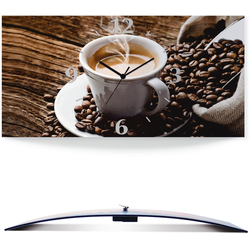 Artland Wanduhr Heißer Kaffee - dampfender Kaffee (3D Optik gebogen) 50 cm x 25 cm x 0,3 cm