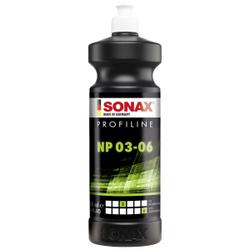 SONAX PROFILINE NP 03-06 Politur, Silikonfreie Politur zum professionellen Polieren von verkratzten Lacken, 1000 ml - Flasche
