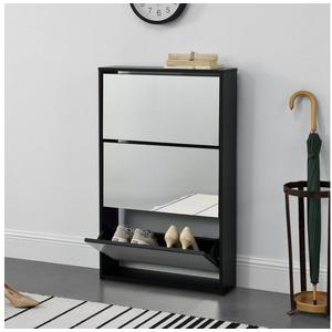 en.casa Schuhschrank Vogar Schuhkipper in verschiedenen Farben und Größen schwarz 63 cm x 102.5 cm x 17 cm