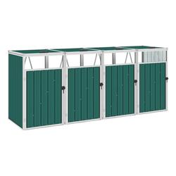 vidaXL Mülltonnenbox vidaXL Mülltonnenbox für 4 Mülltonnen Grün 286×81×121 cm Stahl