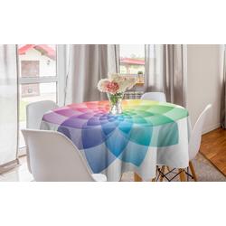Abakuhaus Tischdecke Kreis Tischdecke Abdeckung für Esszimmer Küche Dekoration, Regenbogen-Mandala Regenbogen-Töne Petal