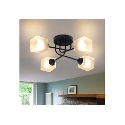 ZMH Deckenleuchte Deckenlampe Glas und Metall Vintage E27 4 Flammig Weiß Kronleuchter Schlafzimmerlampe Esstischlampe Flurlampe