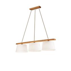 Licht-Erlebnisse Pendelleuchte BEVERELY Hängeleuchte Esstisch Stoff Holz Braun Pendelleuchte Lampe