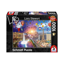 Schmidt Spiele Puzzle Puzzle L.Stewart Las Vegas, Night and Day, 1.000, Puzzleteile