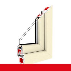 Kunststofffenster Dreh (ohne Kipp) Fenster Cremeweiß, Anschlag: DIN Links, Glas: 3-Fach, BxH: 1300x1300 (130x130 cm)