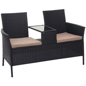 MCW Gartenbank MCW-E24, Poly-Rattan, Maximale Belastbarkeit pro Sitzplatz: 120 kg, Mit Armlehnen, Bezüge mit Reißverschluss, wasserabweisend, Neigt nicht zum beige