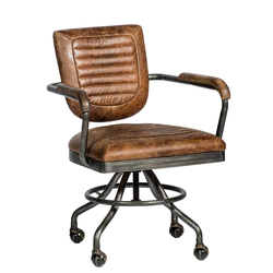 Bürostuhl in Cognac Braun und Altsilberfarben Vintage Look