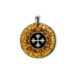 Adelia´s Amulett 925 Silber Bernstein Talisman, Wind - Veränderung Rad des Lebens