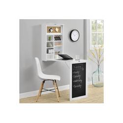en.casa Wandregaltisch, Ausklappbarer Schreibtisch [Weiß] - Mit Regal, Pinnwand & Tafel weiß