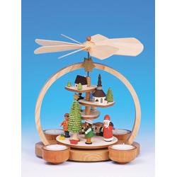 Volkskunst Neuber Weihnachtspyramide Teelichtpyramide, Kugelpyramide mit Etagen, bunt