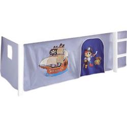Vorhang Pirat 3-tlg 100% Baumwolle inkl. Befestigung ( 2x Klettband ) hellblau / blau