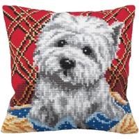 """Collection D'Art CdA Kreuzstichkissen Bichon - Hund"""" 5161, 40x40cm, Stickbild vorgezeichnet"""