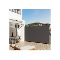SONGMICS Seitenmarkise GSA185G GSA205G 180 x 350 cm (H x L), für Balkon und Terrasse, grau 180 cm