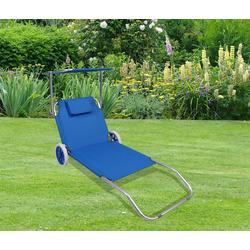 VCM Gartenliege Sonnenliege mit Rollen und Sonnendach blau
