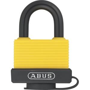 ABUS Vorhängeschloss 70AL/45 aus massivem Aluminium - wetterfest - mit Schutzkappe und Kunststoffummantelung - gleichschließend 6401 - Gelb