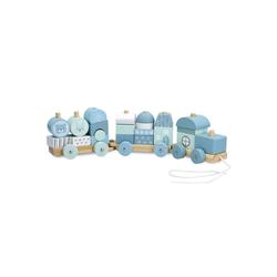 Navaris Spielzeug-Zug, Holzzug Spielzeug für Mädchen und Jungen - Zug Lokomotive aus Holz mit Würfel - Eisenbahn inkl. Holzbausteine - Holzeisenbahn zum Nachziehen blau