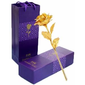 TYXSHIYE 24 Karat Vergoldete Rose Golden, 24K Goldene Rose Handgefertigt Konservierte Rose, Blattgold Rose mit Geschenkbox für Geburtstag Geschenk Freundin Muttertag Hochzeitstag Künstliche