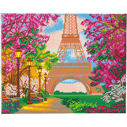 Bastelsets Paris im Herbst gerahmter Kristallkunst braun/pink  Kinder