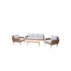 MCW Sitzgruppe MCW-H57, Garten, 5 Sitzplätze, Max. Belastbarkeit pro Sitzplatz: 120 kg, Inklusive Sitz- und Rückenkissen beige