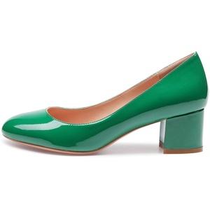 CASTAMERE Damen Mittel Heels Runde Zehen Sexy Elegant Pumps Blockabsatz 5CM Grün Lackleder Schuhe EU 40