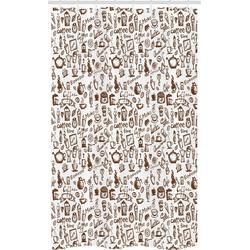 Abakuhaus Duschvorhang Badezimmer Deko Set aus Stoff mit Haken Breite 120 cm, Höhe 180 cm, Kaffee Kaffee-Zeit Americano