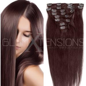Clip in Extensions Echthaar 8 Tressen günstig Haarverlängerung Remy Human Hair Echthaar 8 Tressen 20 Clips Glatt 50cm-70g #4 Schokobraun für die Haarverdichtung