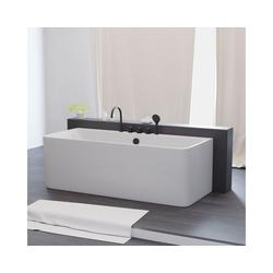 TroniTechnik Badewanne Badewanne Saria, (3-tlg), Inkl. Armaturen in schwarz, Handbrause und 1,5m Brauseschlauch und Push To Open Abfluss