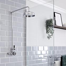 Retro Aufputz Duschsäule mit Duschthermostat, Chrom/Schwarz - Elizabeth, von Hudson Reed
