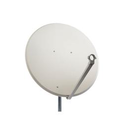 PremiumX PXS100 Satellitenschüssel 100cm Stahl Hellgrau Satellitenantenne SAT Spiegel mit LNB Tragarm und Masthalterung SAT-Antenne