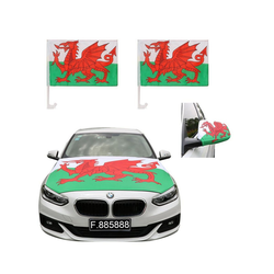 Sonia Originelli Fahne Auto Fan-Paket Haubenfahne Fensterfahnen Spiegelfahnen Magnetflaggen Wales, Fanartikel für das Auto in Wales-Farben Fanset-10XL
