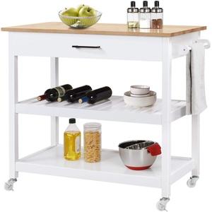 Yaheetech Küchenwagen, Servierwagen mit 2 Ebenen, Rollwagen mit Schublade, Küchenregal mit 4 Rollen, Sideboard