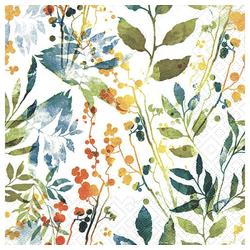 Linoows Papierserviette 20 Servietten, Bunte Blätter und Kräuter, Sommersz, Motiv Bunte Blätter und Kräuter, Sommerszenario