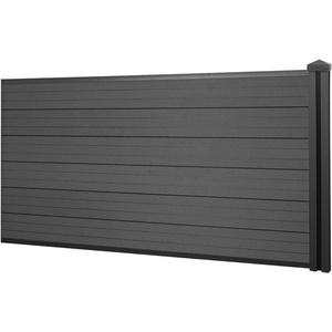 WPC-Sichtschutz Sarthe, Windschutz Zaun, WPC-Pfosten ~ Erweiterungselement niedrig, 1,88m anthrazit