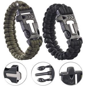 2er-Set Survival-Armbänder mit Seil, Pfeife, Feuerstahl und Messer