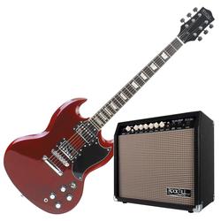 Rocktile Pro S-Red E-Gitarre Heritage Cherry Verstärker Set