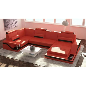 Wohnlandschaft Sofa Couch Leder Designer Polster Garnitur Ecke Leder Hamburg-a