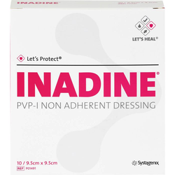 INADINE Salbengaze m. PVP Iod. 9,5x9,5cm 10 St.