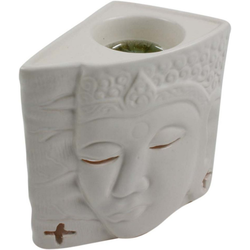 Guru-Shop Duftlampe Keramik Duftlampe - Buddha 1 weiß 10 cm x 12 cm x 7 cm