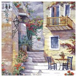 Linoows Papierserviette 20 Servietten Landhausszene, Sonnenbaden in der, Motiv Landhausszene, Sonnenbaden in der Sommersonne