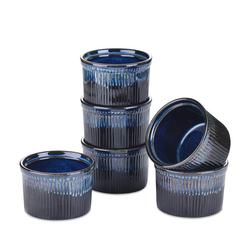 vancasso Auflaufform GLIMMER, Steingut, (6-St), 6 teilig Backform aus Steinzeug blau rund - Ø 9.5 cm x 6.5 cm
