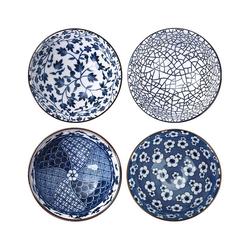 Intirilife Schale Intirilife 4-teiliges Schalen-Set in schickem Geschenkkarton - Japanisches Porzellan Geschirrset in Blau und Weiß, Porzellan, Japanisches Porzellan Geschirrset
