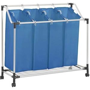 vidaXL Wäschesortierer mit 4 Taschen Blau Stahl
