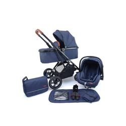 Pixini Kombi-Kinderwagen, Kinderwagen Lania 3 in 1 inkl. Autositz, Regenplane, Wickeltasche blau