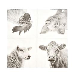 Linoows Papierserviette 20 Servietten Bauernhof Tiere, heimische Nutztiere, Motiv Bauernhof Tiere, heimosche Nutztiere