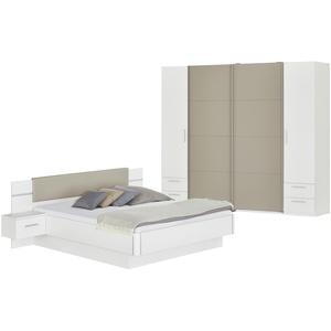 Basispreis* uno Komplett-Schlafzimmer  4-teilig mit Beleuchtung Miami ¦ weiß