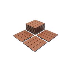 Einfeben Terrassenfliesen WPC Fliesen 11 Stück 1m² 30x30 cm Terrassendielen Holzfliesen Fliese in Holzoptik Bodenbelag mit klicksystem für Terrassen und Balkon, Holzoptik, klicksystem braun