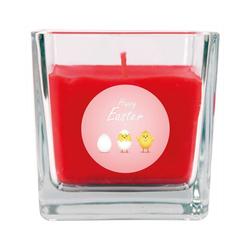 HS Candle Duftkerze (1-tlg), Frohe Ostern - Bis zu 110h Brenndauer - Kerze im Bonbon Glas, Kerze mit Motiv zur Osterzeit, vers. Düfte / Größen rot 8 cm x 8 cm x 8 cm