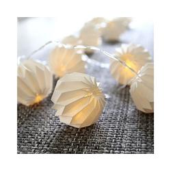 STAR TRADING LED-Lichterkette LED Origami Lichterkette - 10 weiße Papierblumen - warmweiße LED - 2,25m - Batterie - Timer, 10-flammig