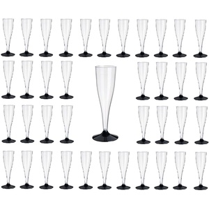 Gastro-Bedarf-Gutheil 20 Stück SEKTGLÄSER -0,1 LTR. schwarz EINWEG Polterabend Sektempfang Sektkelch Proseccoglas