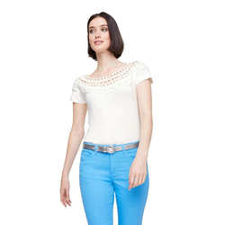 Shirt mit Cutouts weiß 46